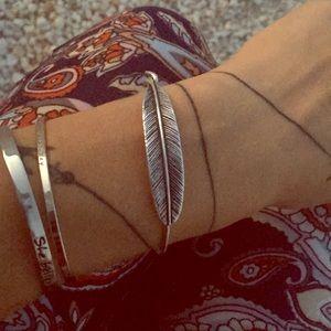 Alex And Ani Silver Feather Bangle Bracelet